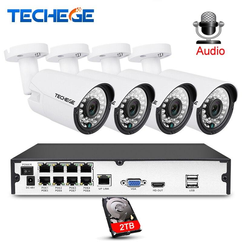3000TVL Techege 8CH 1080 P CCTV Sistema de Gravação de Áudio 2MP PoE IP Câmera Night Vision sistema de Vigilância de Vídeo À Prova D' Água Ao Ar Livre