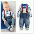 Retail Spring and autumn  children's clothing set baby boy cotton striped romper + jean pants 2pcs suit infant denim clothing