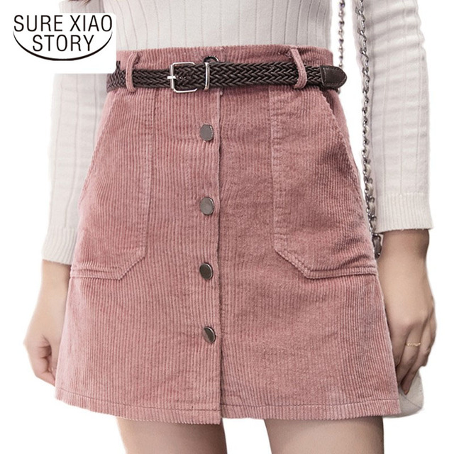 Fashion Winter Autumn Corduroy Skirt women 2018 High Waist Ladies Skirts Women's Casual Black Khaki Pink Mini Saias Mujer Z03 40