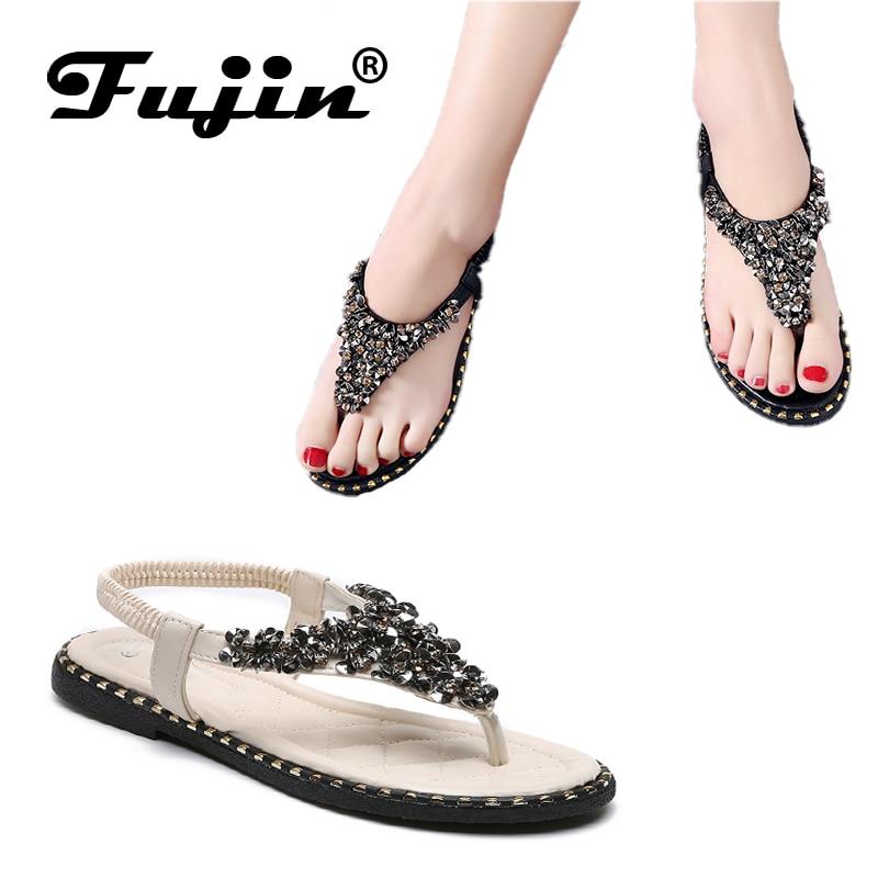 Fujin Brand  Summer Style Bling Sequin Fashion Peep Toe Women Shoes Sandal Flat Female Thong Cool