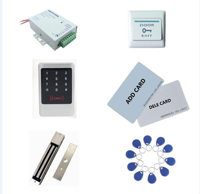 access control kit,metal shell access controller+power+280kg magnetic lock+exit button+10 keyfob ID tags,sn:Tset 6