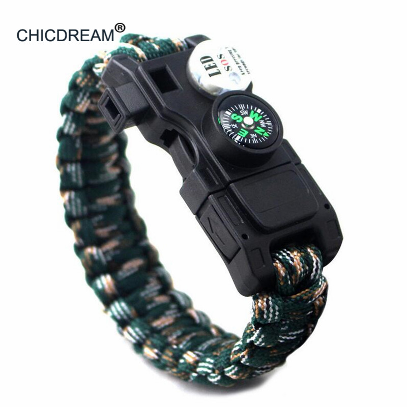 Men Bracelet Woven Rope Multifunctional LED Paracord Military Survival Bracelet For Men Outdoor Camping Emergency Whistle Tools