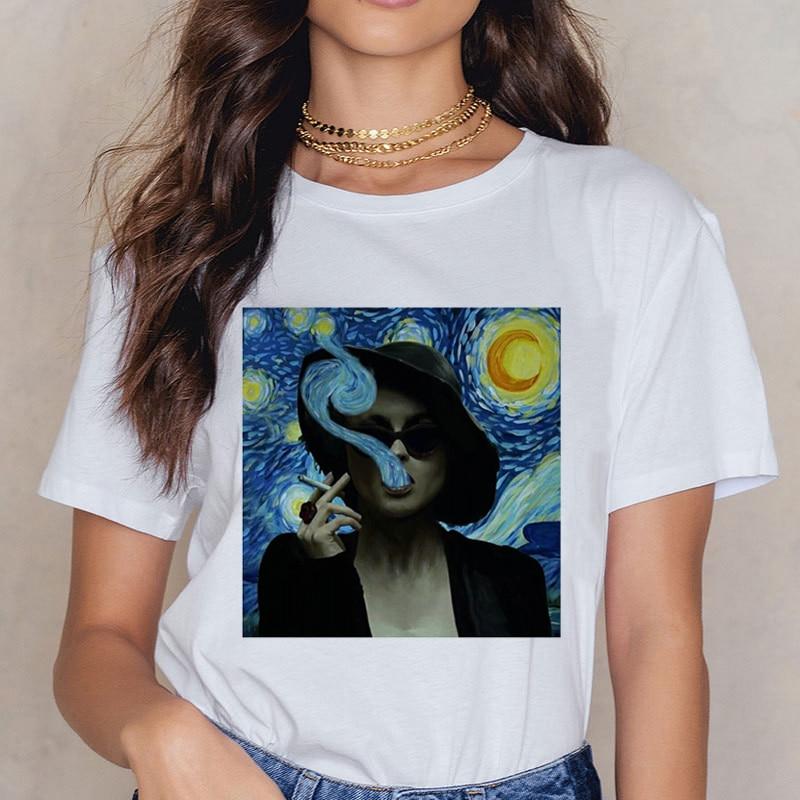 Van Gogh Art Print Vintage   T  -  shirt   Harajuku Casual Funny   T     Shirt   Women Ullzang Short Sleeve Tshirt Graphic 90s Top Tees Female