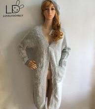 LOVELYKONKEY  mink cashmere sweater women cardigan knitted mink jacket fashion winter long fur coat free shipping M711