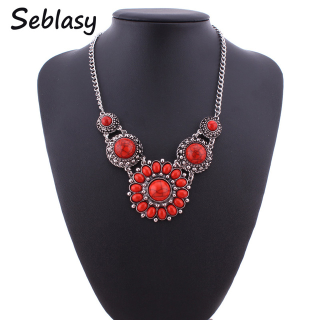 Seblasy Fashion Jewelry Boho Gypsy Silver Color Metal Carved Nature Stone Big Flower Choker Necklaces & Pendants For Women Joias