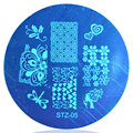 1 UNIDS 5.5 cm Redonda de Acero Inoxidable Nail Art Sello Plantilla Placa de la Imagen Flores Pattens # STZA05