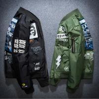 Ma1 Bomber Jacket winter jackets Pilot Anarchy Outerwear Men Army Green Kanji Japanese Merch Flight Coat Streetwear printed