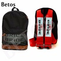JDM Bride Fabric Canvas Backpack with Seat Belts Racing BRIDE Bag Drift Race School Bag