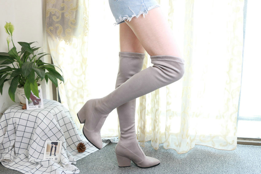 Women Hoof Heels Winter Shoes Pointed Toe Sexy Elastic Fabric Boots 80