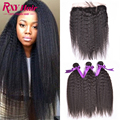 7A Peruvian Virgin Hair With Frontal Closure 13x4 Ear To Ear Lace Frontal Closure With Bundles Kinky Straight Hair With Closure