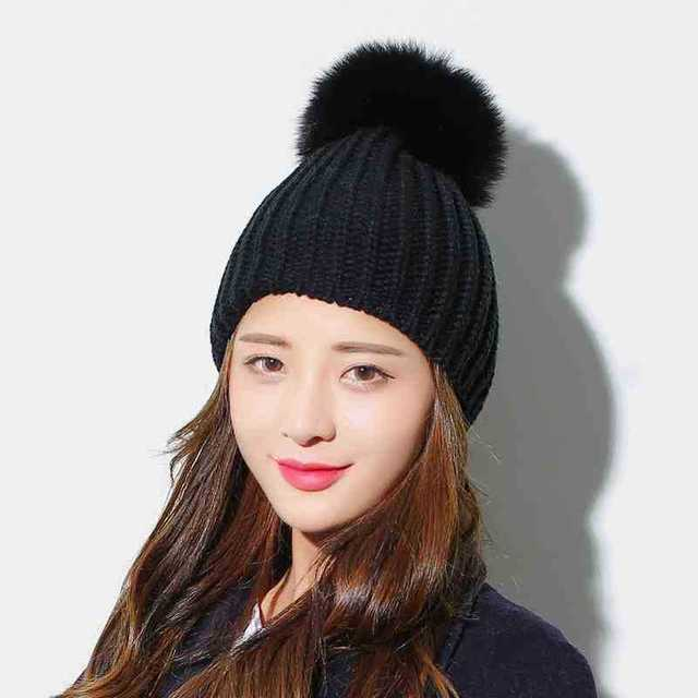 15PCS / LOT SINGYOU New Winter Hat for Women Solid Color Fox Fur Ball Knitted Hats Casual Warm Beanie Ski Cap Gorros 1