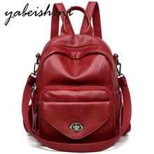 Door lock Women's leather backpack Multi-layer outer bag Women's travel backpack Shoulder Bags Large internal space Mochilas New