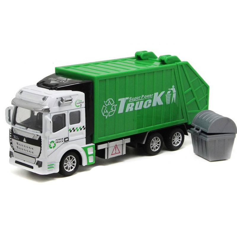 Garbage Truck Toy 1:32 Simulation Rubbish Truck for Toddlers Boys Green