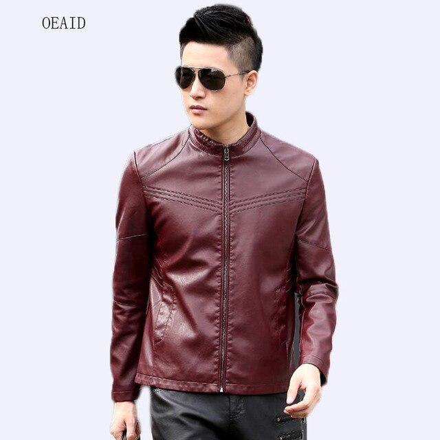 dff9e9ee56f OEAID Plus Size S M L XL XXL 3XL 4XL Men s Motorcycle Leather Clothing 2018  Autumn Leather Coat