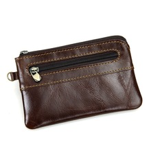 Top Cow Leather Men Coin Purses Holders Card Pack Ultra-Thin Cowhide Coin Zipper Pocket Wallet Bags Cowskin For Men's #MD-J8118