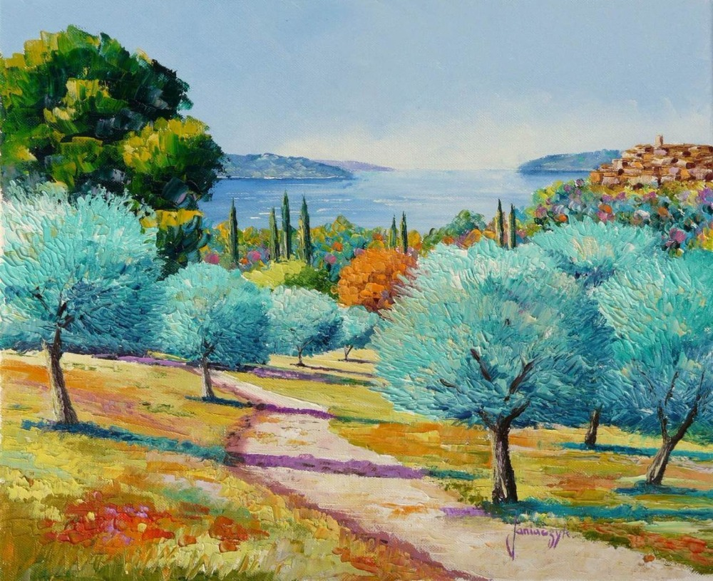 High quality Oil painting Canvas Reproductions Mediterranean olive trees By Jean Marc Janiaczyk hand paintedHigh quality Oil painting Canvas Reproductions Mediterranean olive trees By Jean Marc Janiaczyk hand painted
