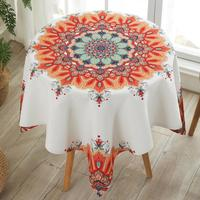 INS Ethnic Floral Round Tablecloths Waterproof anti hot anti oil disposable small round table cloth tablecloths cotton and linen