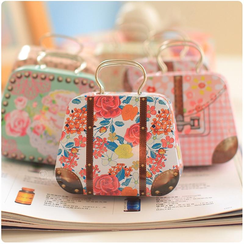 Wedding Preservation Boxes: 6PCS/LOT Creative Handbags Tin Boxes Wedding Joyful
