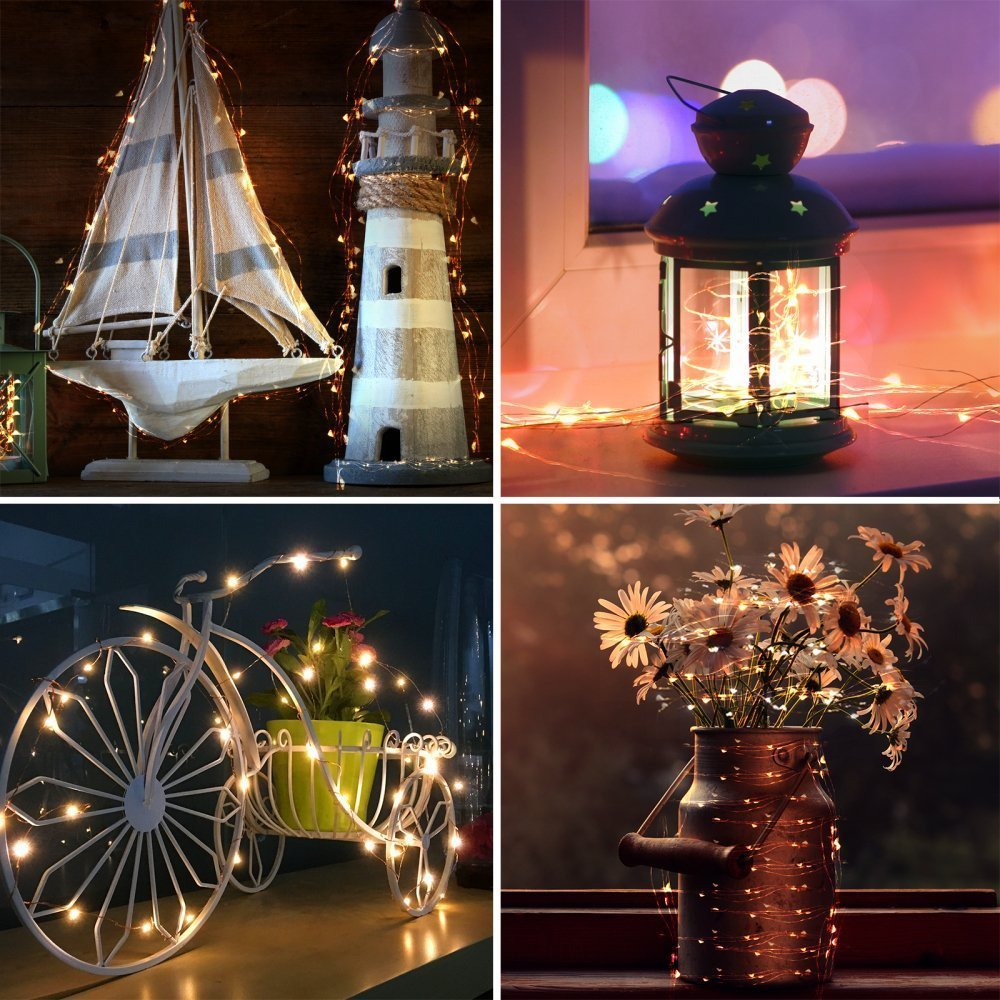 4m 40led 10sets Battery Operated Led Copper Wire String Lights For Wedding Indoor Outdoor Party