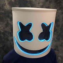 Halloween Led Luminous Marshmello Cosplay Mask EL Wire Carnaval Party Club Bar DJ Glowing LED Light Full Head Helmet