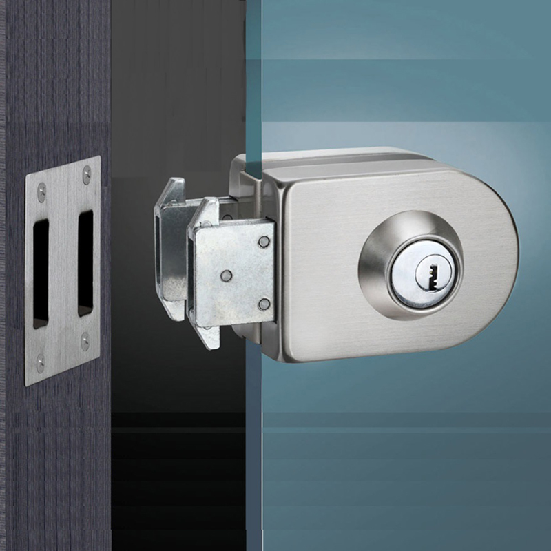 Stainless Steel Entry Gate 10-12mm Glass Door Lock Locks W Key Swing And Sliding Door
