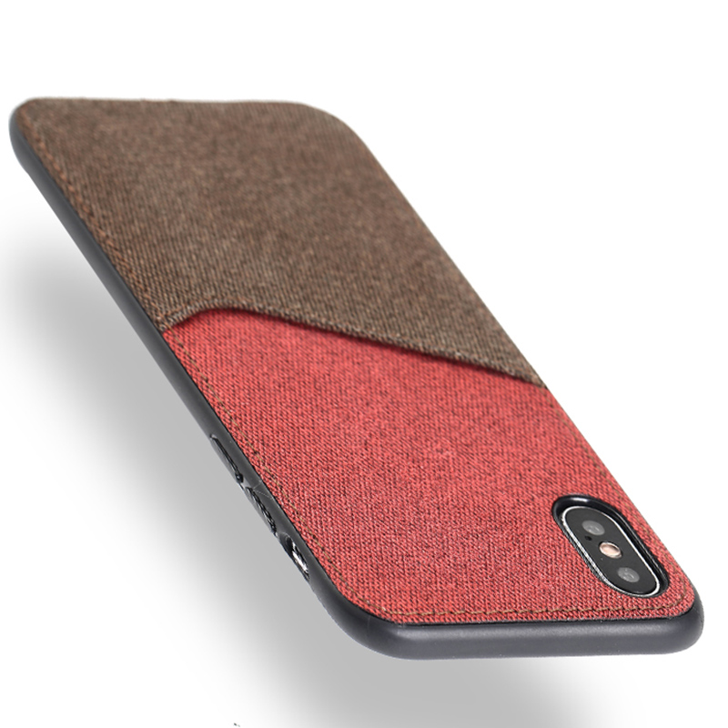 Canvas Phone Case For iPhone X 10 Case Soft TPU Edge Color Stitching Card Slot Design Back Cover For 7 8 6 6S 5 5SE Plus Case