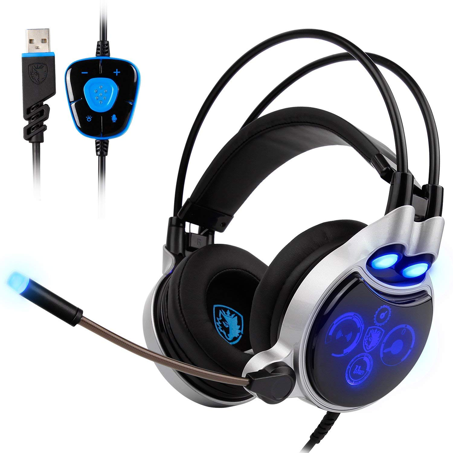 PC Gaming Headset Stereo 7.1 Surround Sound USB Wired Headphones Flexible with Mic,Volume Control,LED Lighting,Noise Cancelling