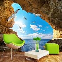 Beibehang personalizado céu azul gaivota cenário da paisagem, papel de parede para paredes 3 d, papel de parede para quarto