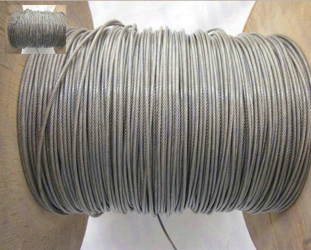 Commercio all'ingrosso 100 M/Roll Globale Diametro 1.0 MM Trasparente PVC Rivestito Fune In Acciaio Inox (0.8 MM Filo corda Con 0.1 MM Coating)
