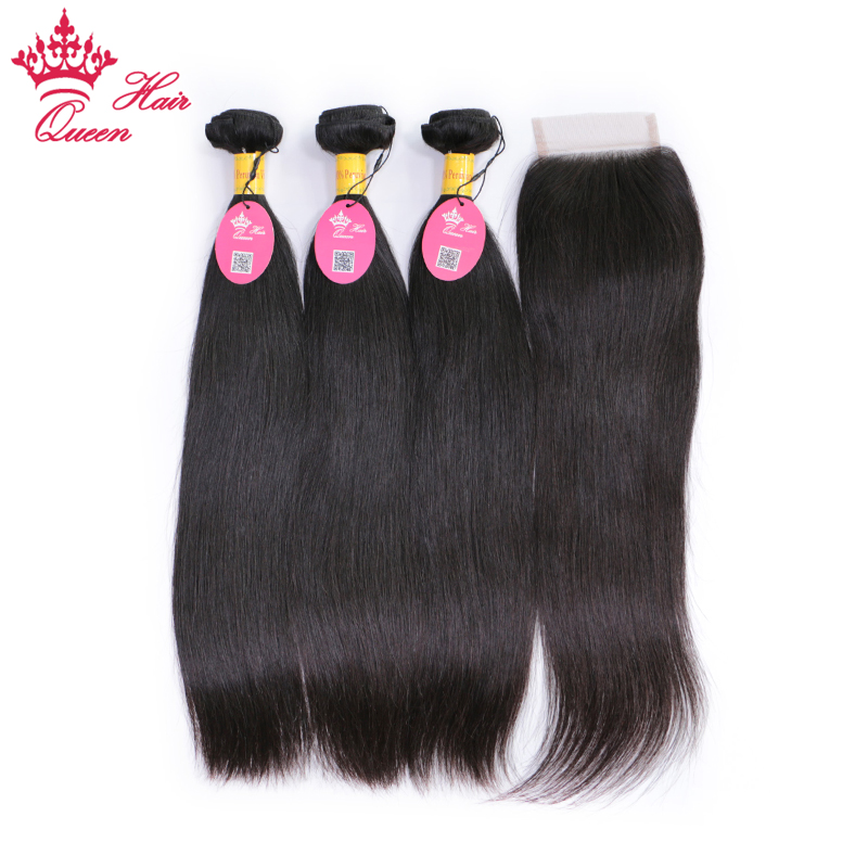 Queen Hair Peruvian Virgin Straight Hair 3 Bundles With Closure 100 Unprocessed Human Hair Weave Bundles