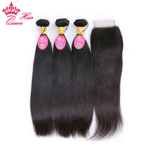 Queen Hair Peruvian Virgin Straight Hair 3 Bundles With Closure 100% Unprocessed Human Hair Weave Bundles With Lace Top Closure