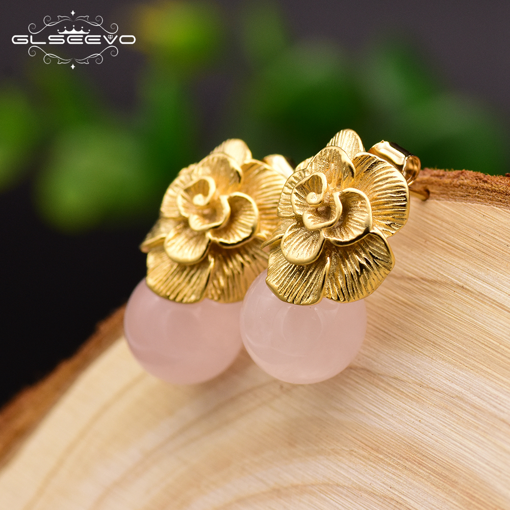 GLSEEVO 925 Sterling Silver Ear Pin Natural Pink Round Crystal Drop Earrings For Women Plant Leaves Engagemant Earrings GE0336GLSEEVO 925 Sterling Silver Ear Pin Natural Pink Round Crystal Drop Earrings For Women Plant Leaves Engagemant Earrings GE0336