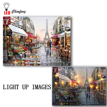 Lighted canvas print Shopping Street Romantic Paris Eiffe Tower Beautiful View of France Led painting Christmas Canvas Wall Art