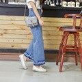 Estilo coreano Das Mulheres Do Vintage de Cintura Alta Azul Denim Calças Perna Larga Calças Calças Causal Solto Bezerro-Comprimento Das Calças de Brim