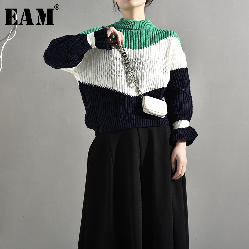 [EAM]2019 New Atumn V-collar Long Sleeve Black Loose Big Size Long Knitting Thickening Sweater Women Fashion Tide JH2480