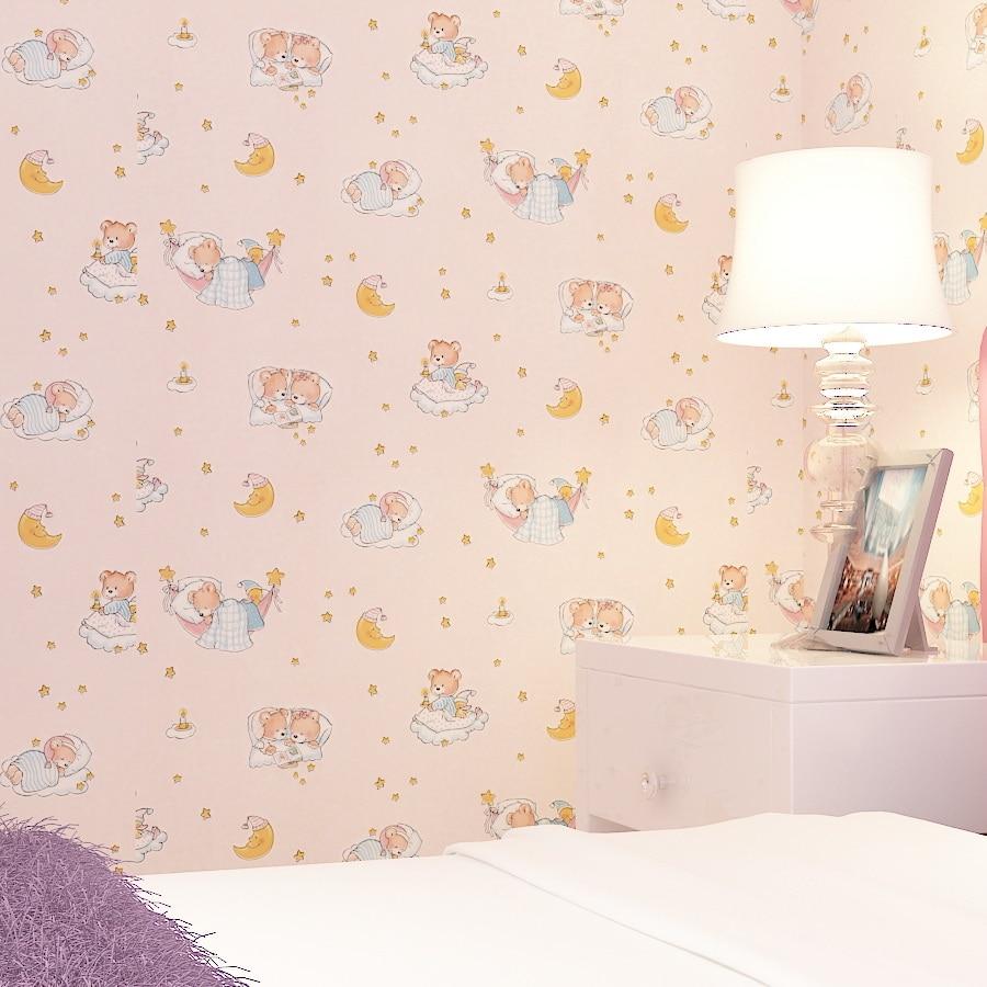Modern Pvc Small Bear Children Room Wallpaper Pink Color Cartoon Wallpaper Nemo Star Moon Sleep Wallpaper For Walls 3 D Roll