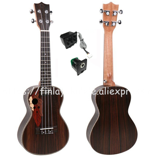 Finlay 24 ukulele,Electric ukulele Wtih Grape Sound Hole,Full Rosewood top/body hawaii guitars,FU-24ME,concert ukelele guitarra