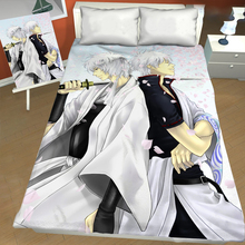 120g High quality fabric GINTAMA Anime printing bed sheet Cartoon anime Children room linen(NO cover pillowcase)