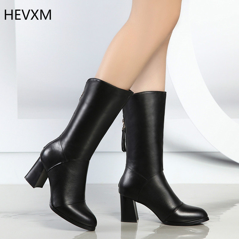 ФОТО HEVXM 2017 winter new Korean fashion leather pointed zipper high-heeled thick with women in the tube size 34-40 free shipping