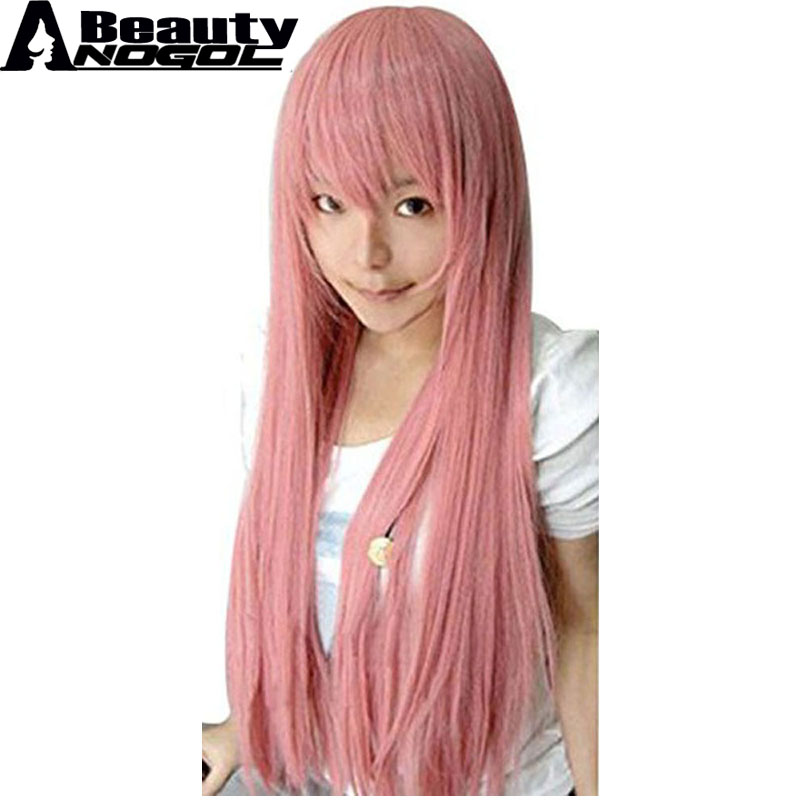 ANOGOL BEAUTY Pink Long Straight Sakura Miku Luka Megurine Rose Quartz Matryoshka Princess Bubblegum Moka Akashiya Cosplay Wig