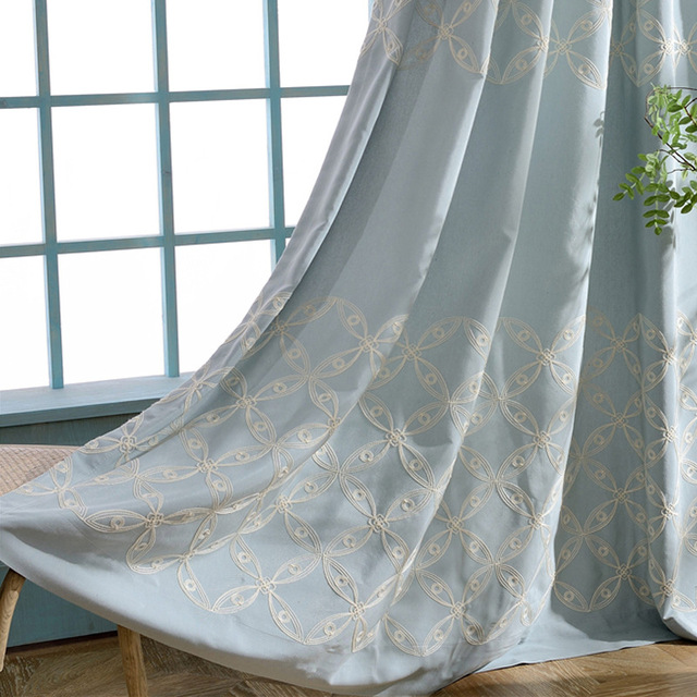 Slow Soul Blue Champagne Embroidered Silk Curtains French