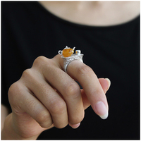 Lotus Fun Real 925 Sterling Silver Vintage Ring Natural Amber Original Handmade Fine Jewelry Cute Teapot Rings for Women Gift