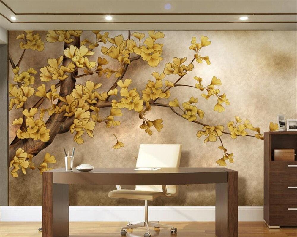 Beibehang Benutzerdefinierte Tapete Wohnzimmer Schlafzimmer Wandbilder Hand Gemalt Chinesischen Ginkgo Baum TV Hintergrund Wandbild 3d Wallpaper In