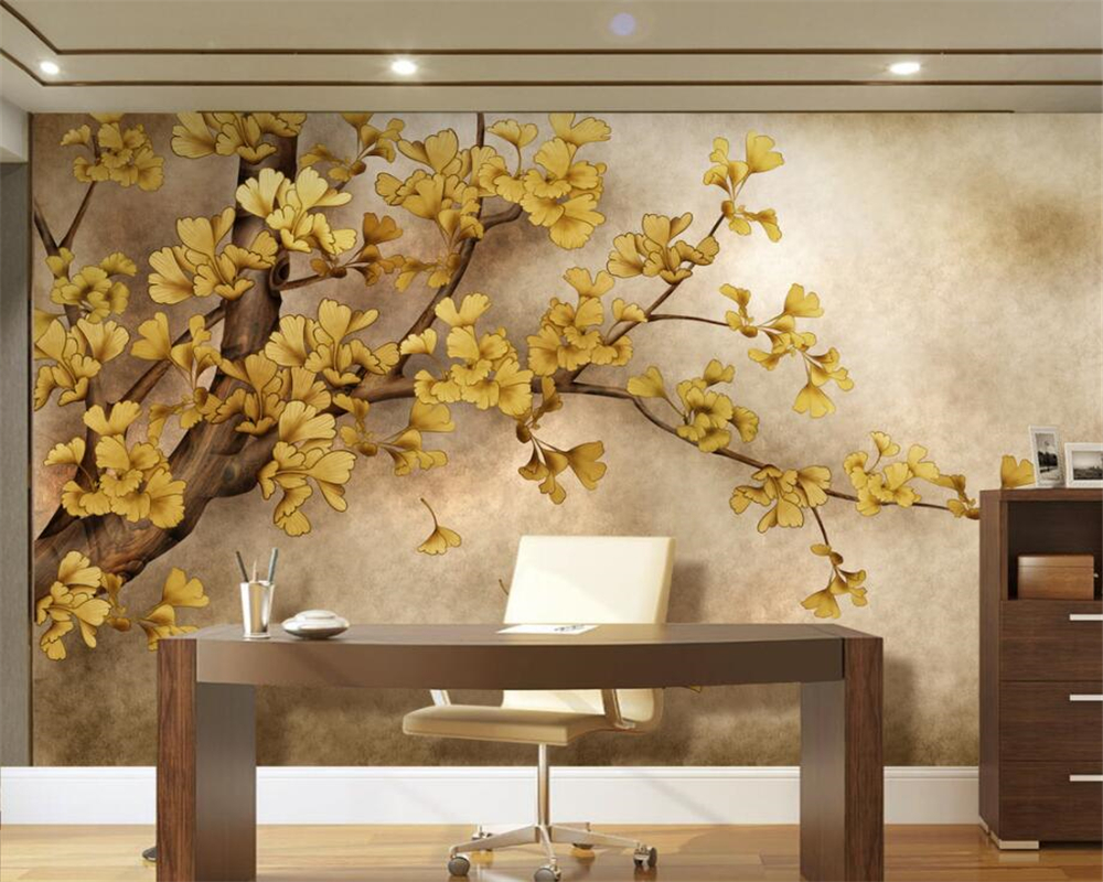 popular chinese wallpaper murals trees buy cheap chinese wallpaper beibehang custom wallpaper living room bedroom murals hand painted chinese ginkgo tree tv background mural 3d