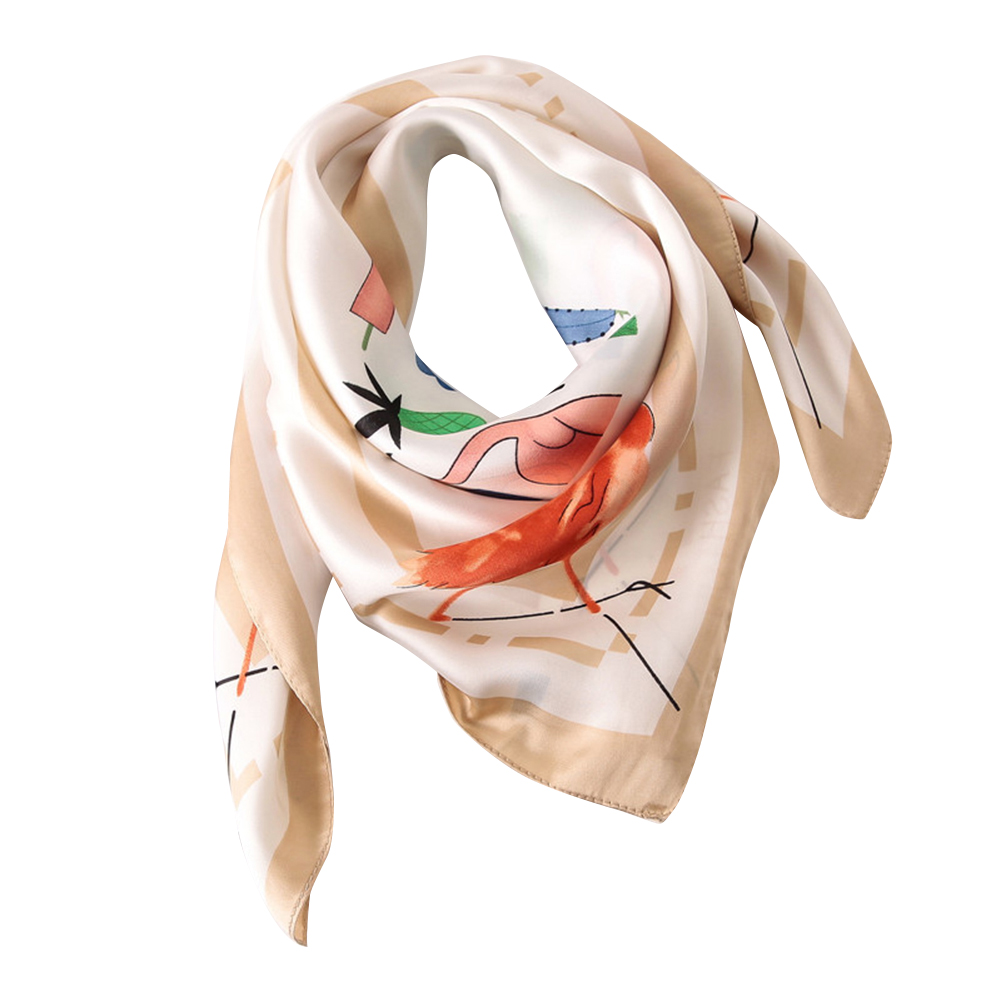 Fashion Women Flamingo Pattern Soft Smooth Satin Neck Square   Scarf     Wrap   Shawl