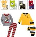 2017 пижамы детская одежда устанавливает 100% хлопок мультфильм мода дети пижамы топ + брюки Домашней Одежды детские малыши детей одежда