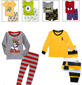 2017 pijamas de los cabritos que arropan 100% algodón de moda de dibujos animados pijamas de los cabritos top + pants Homewear bebés de los niños ropa de los niños
