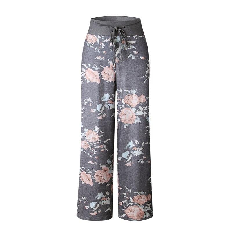 2018 Causal Women Autumn Flower Print Pants  Drawstring Wide Leg Pants Loose Straight Trousers Long Female Plus Size Trousers