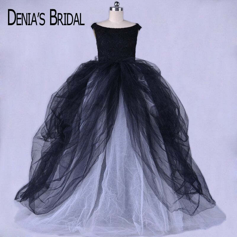 Real Photos Simple Black Scoop Ball Gown Evening Dresses with Lace Top Sleeveless Chapel Train Tulle