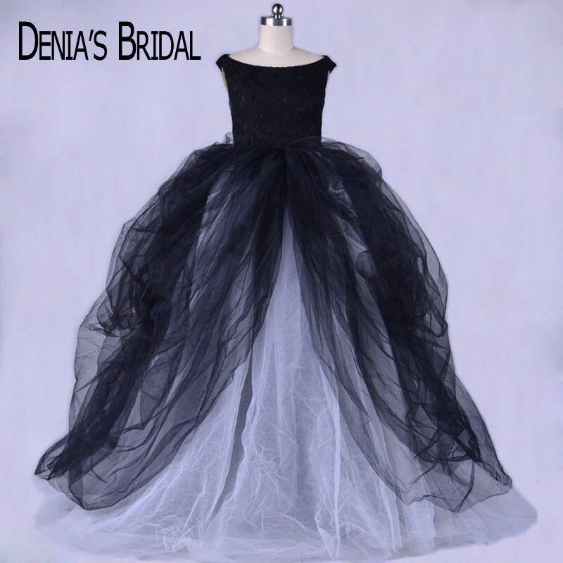 Vraies Photos simples noir Scoop robe de soirée robe de soirée avec dentelle haut sans manches chapelle Train Tulle longues robes de bal